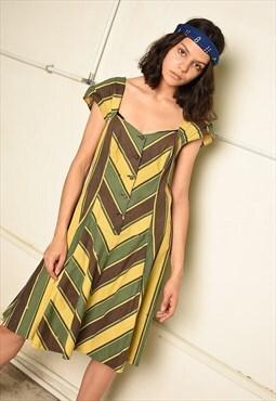 80's retro striped print Paris chic midi dress