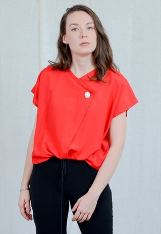 RED TOP VINTAGE 80S BLOUSE WHITE BUTTON SHORT SLEEVE RETRO