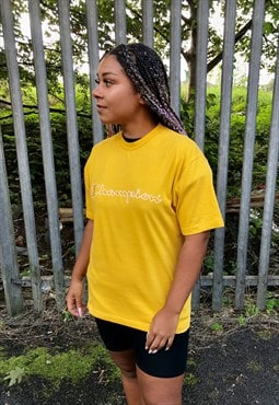 Vintage Champion mustard yellow spellout crew neck t-shirt