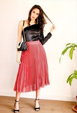 Pleated Midi Skirt in Red & Silver