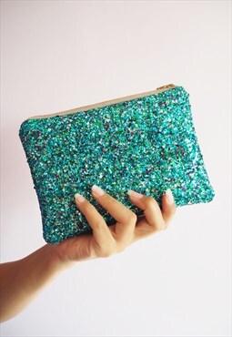 Turquoise Glitter Makeup Bag