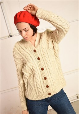 70's retro wool Aran chunky handknit Paris chic cardigan