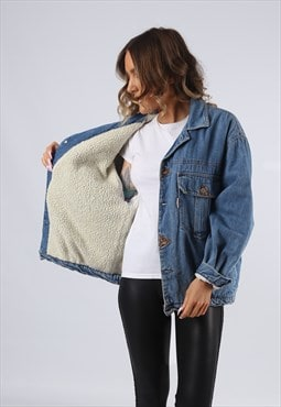 Denim Jacket Oversized SHERPA LINED UK 14 - 16 (G95U)