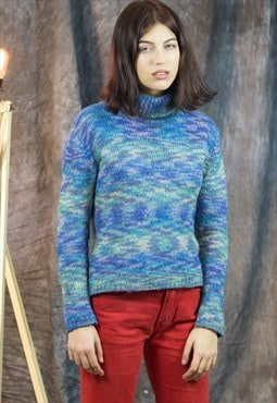Vintage Blue Turtleneck Knitted Pullover