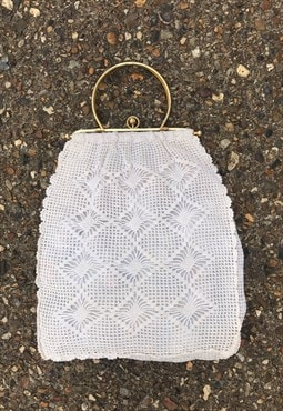Vintage White Handmade Crochet Bag