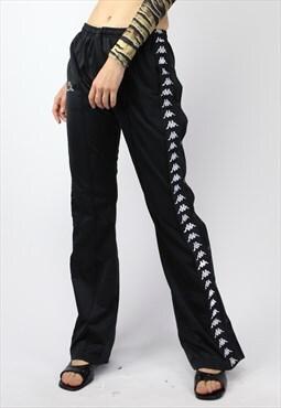 Y2K Kappa Snaps Jogger Pants in Black