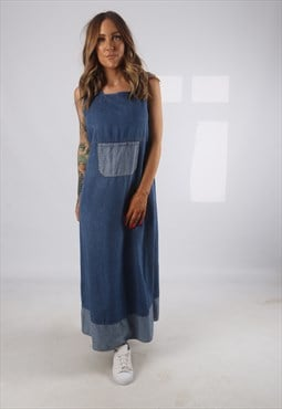 Vintage Denim Dress Long 90's UK 14  (H2H)