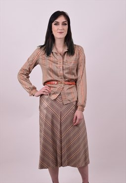 Vintage 70's Crazy Print Dress Skirt & Matching Blouse 12 14