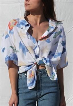 Printed white  button down shirt