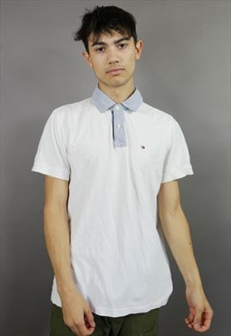 White Tommy Hilfiger Polo Shirt with Contrast Collar