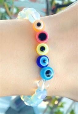 All Eyes - Opalite Gemstone Evil Eye Beaded Bracelet