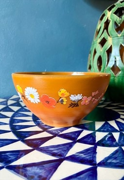 Vintage 70's Brown and Floral Bowl