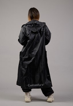 Longline Waterproof Jacket In Black