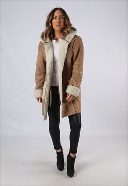 Vintage Faux Sheepskin Suede Effect Coat Hooded UK 14 (AEB)