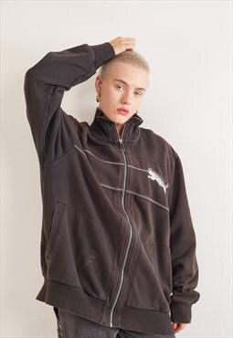 Vintage Puma Zip-Up Sweatshirt Brown