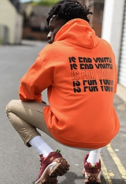 Unisex hoodie in orange with repeat logo.