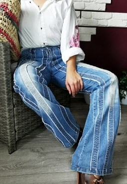 90's retro mid waist stiped patchwork flare jeans