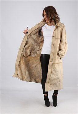 Sheepskin Suede Leather Shearling Coat UK 12 Medium (LJ3W)