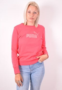 Puma Womens Vintage Sweatshirt Jumper Small Pink 90s
