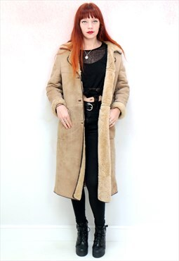 1970s vintage tan sheepskin coat with sherpa lining