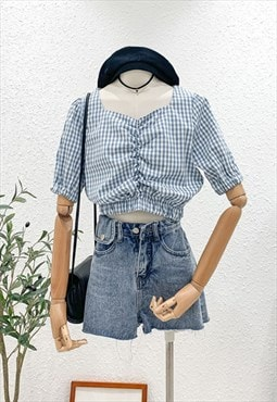 Gingham Print Crop Top