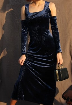 Vintage evening velvet dress in blue