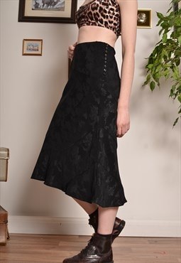 Vintage Floral Pattern Midi Skirt in Black