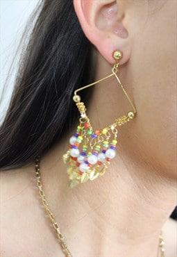 1990's Coloured Bead Boho Drop Earrings