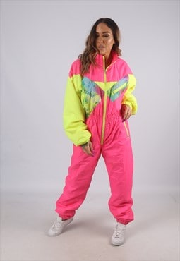 Vintage Full Ski Suit Snow Sports Neon UK 16 XL (KBR)