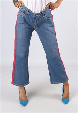 KICK FLARE Side Stripe Reworked Jeans Flared UK 14 (H31E)
