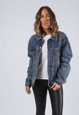 Denim Jacket Oversized Fitted Vintage UK 14 - 16 (GK2J)