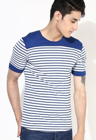 STRIPE T-SHIRT MENS CUT AND SEW T SHIRT BLUE STRIPE T SHIRT