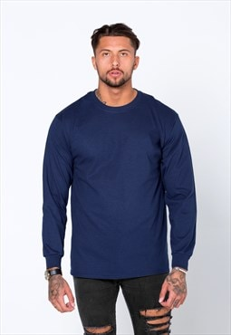 Staple Blank Plain Long Sleeved T-Shirt - Navy Blue