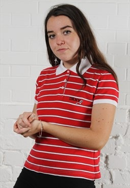 Vintage DKNY Polo Shirt in Red Stripe w/ Spell Out Logo