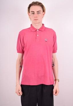 Hugo Boss Mens Vintage Polo Shirt Medium Pink 90s