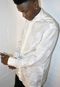 Vintage 90s Medusa Baroque Print Pattern Long Sleeve Shirt