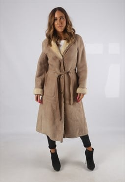 Vintage Sheepskin Suede Shearling Coat Long UK 10 (H4A)