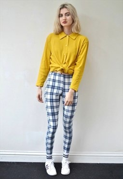 New check leggings white blue denim effect full length