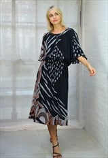 Vintage 90s Black Pleated Midi Dress