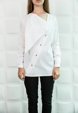 White Shirt/Loose Shirt/ Asymmetric Shirt/Long Tunic/ B0084