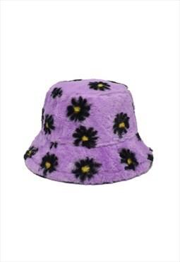 Lilac Daisy Fluffy Bucket Hat