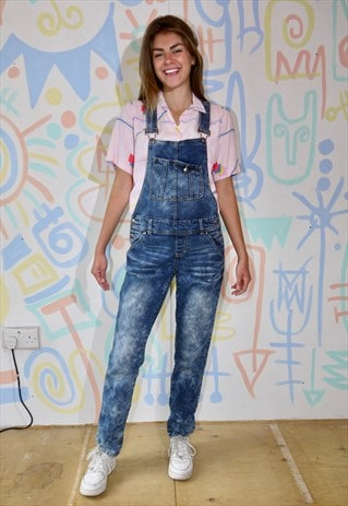 DUNGAREES, DENIM, MARBLE WASH, ALL-IN-ONE, SLIM FIT