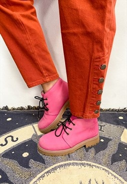 VINTAGE 90's Pink Lace Up Ankle Boots