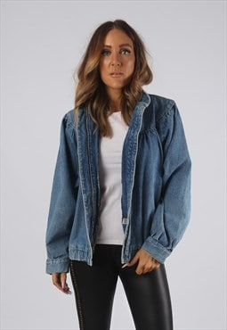 Vintage Denim Bomber Jacket Oversized UK 14 Large (ER3N)
