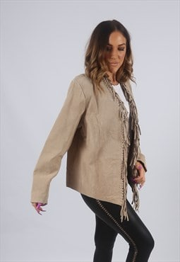 Vintage Suede Leather Tassel Jacket Fringe UK L 14  (K2X)