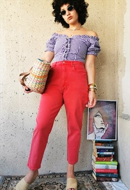 90s Vintage high waist red denim mid-ankle jeans