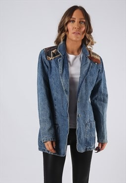 Denim Jacket Blazer 90's Embroidered Long UK 12 (BJDC)