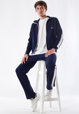 Vintage FRED PERRY Jacket and Pants 80s 90s Blue Suit