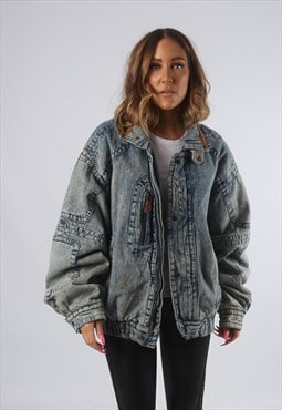 Vintage Denim Bomber Jacket Oversized Acid Wash UK 18 (H4C)