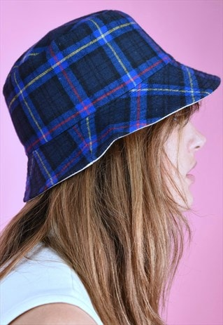 90S BUCKET HAT VINTAGE INSPIRED  CHECKERED BLUE REVERSEABLE
